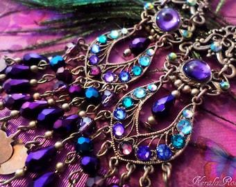 Purple Crystal Chandelier Heart Charm Earrings, East Indian Bollywood, 5 Inch Long,  Gypsy Jewelry, Swarovski Peacock Teal, Clip-On Option