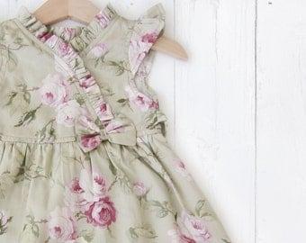 Kimono Dress for little girls, Floral Dress for little girl, Toddler Cotton Silk dress, Green Floral Dress for girls