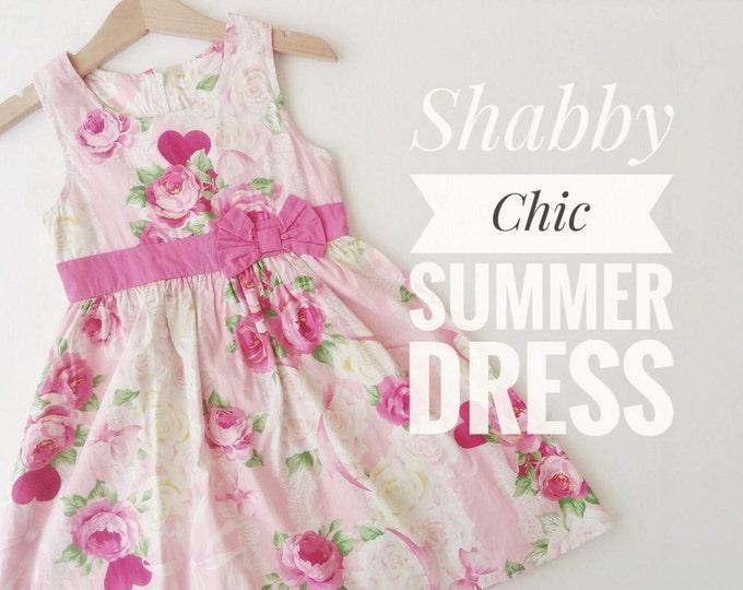 Girl Summer Dress, Pink Floral dress for girls, Baby girl Pink and White Dress, Vintage Inspired Girls Dress