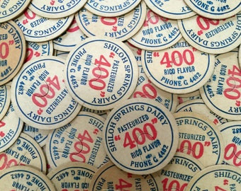 """Vintage Milk or Cream Bottle Caps - Shiloh Springs Dairy Pasteurized """"400"""" Rico Flavor - MANY QUANTITIES"""