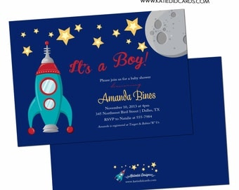 Baby boy shower invitation space ship rocket moon and stars diaper couples twins sip and see birthday (item 1273) shabby chic invitations