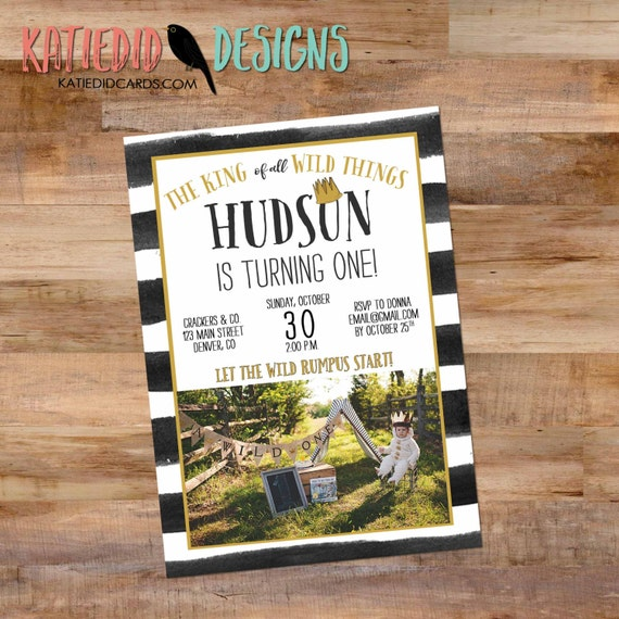 Wild Things birthday invitation party crown wild rumpus stripe king rustic chic first birthday bash gender neutral retirement (item 295)