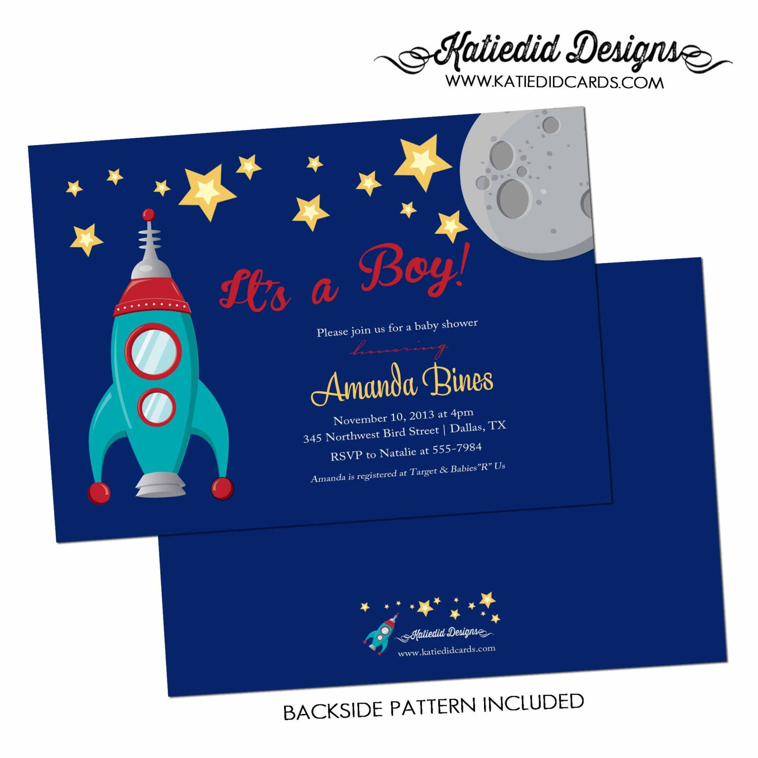 Baby boy shower invitation space ship rocket moon and stars diaper – Rocket Ship Birthday Invitations