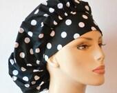 Scrub Hats Bouffant Surgical Scrub Hat - Black with White Polka Dot  Medical Scrub Hat