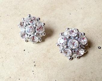 50's Vintage Clear Rhinestone Earrings