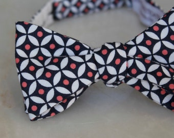 Men or Boys Navy and Coral Diamond Dots Bow Tie- Groomsmen and wedding tie - clip on, pre-tied with strap or self tying