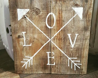 Love Arrows Reclaimed Wood Sign