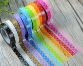 Grid Washi Tape - Candy Rainbow Grid Masking Adhesive - Kawaii Washi Tape - Scrapbooking Washi Paper Tape - 8mm*11mt - Choose Your Fav Col