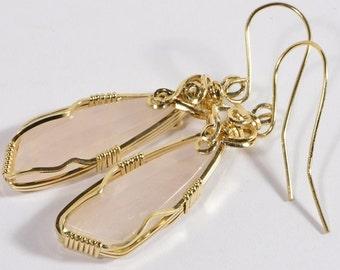 Rose Quartz Earrings Handmade Rose Quartz jewelry Rose Quartz Jewelry Wire Wrapped Jewelry