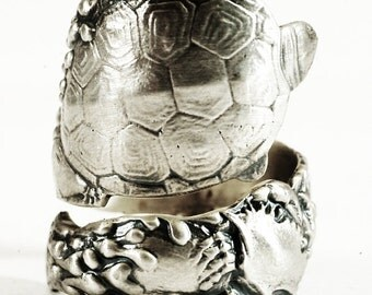Turtle Ring, Sterling silver Spoon Ring, Oyster Ring, Chunky Ring, Wide Ring, Ocean Ring, Beach Ring, Animal Ring, Adjustable Ring Size 3471