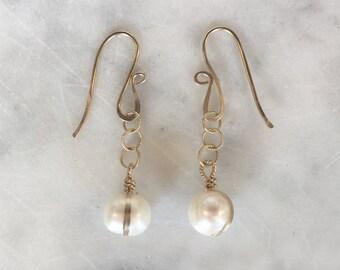 B A N D E D pearl earrings