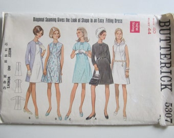"Retro A-Line Dress ~ Vintage 70s Pattern Butterick 5307 ~  Bust 44"" ~ Uncut"