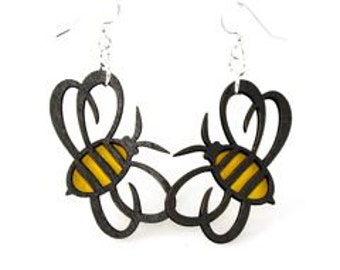 Honey Bees - Laser Cut Earrings from Reforested Wood