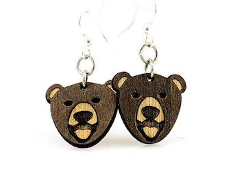 Brown Bear Laser Cut Wood Earrings