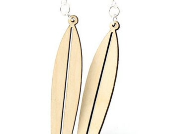 Surfboards - Laser Cut Wood Earrings from Sustainable Resources