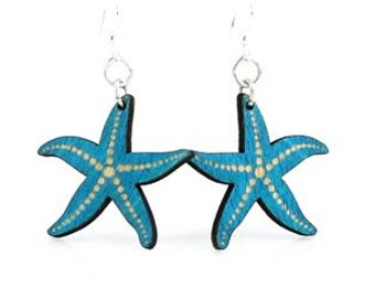 Starfish Earrings Laser Cut From Reforested Wood