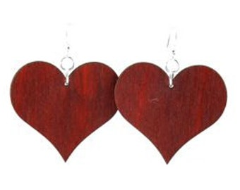 Large Solid Heart - Wood Earrings