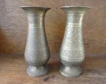 Vintage Indian brass metal vase pair decorative flower stem circa 1950-60's / English Shop
