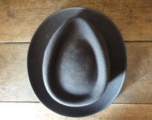 Vintage Italian Mans Mens Derby Grey Leather Lined Formal Church hat man men circa 1930-40's / English Shop