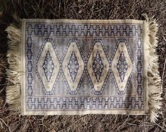 Vintage Turkish Kilim Silk Machine Made Decorative Floor Mat Carpet Rug circa 1950-60's / English Shop