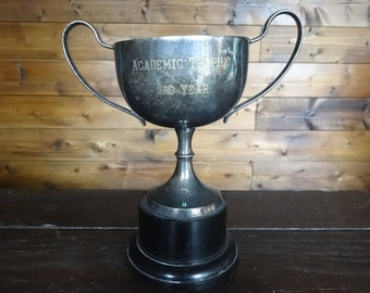 Vintage English EPNS Academic Trophy 3rd Year Trophy Cup Engraved Winners Award Prize Trophies Patina circa 1950's / English Shop