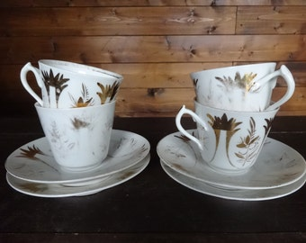 Vintage French ceramic white gold small coffee hot chocolate tea cups set of four circa 1930-40's / English Shop