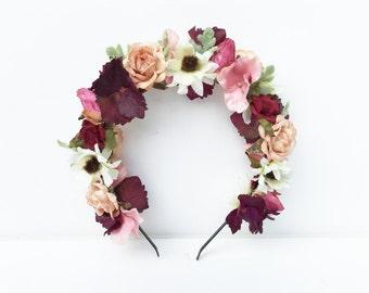 Pink Flower Crown. Floral Headband, Blush Pink, Bridal Flower Headpiece, Flower Headband, Floral Crown, Flower Girl, Aubergine, Maternity