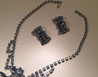 Vintage Blue Rhinestone Necklace Matching Earrings