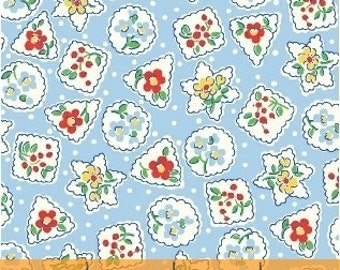 Storybook Christmas Blue Snowflakes & Flowers 41748-4 by Whistler Studios for Windham Fabrics