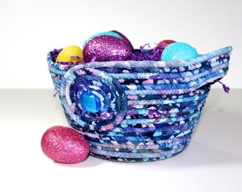 Large Easter Basket   Hand Coiled Rope   Clothesline Bowl   Blue, Aqua and Purple Organizer