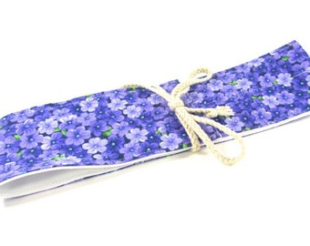 Double Straw Forget Me Not- Purple Flowers Straw Pouch- Protective Carrying Pouch for Glass Drinking Straws