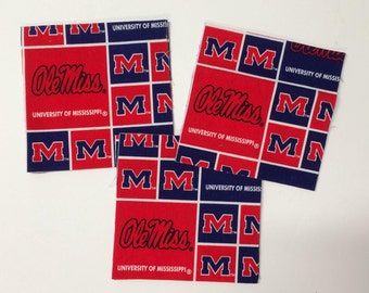 """43 5"""" Ole Miss University of Mississippi Grid themed Charm Fabric Squares"""