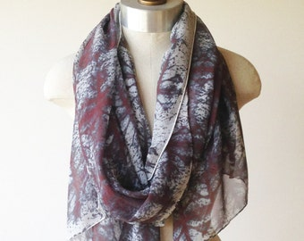 silk chiffon scarf, screen printed scarves, eggplant and teal