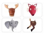Plush DIY Sewing Pattern, Felt Stuffed Animal Heads, Discount Bundle 4 For 3