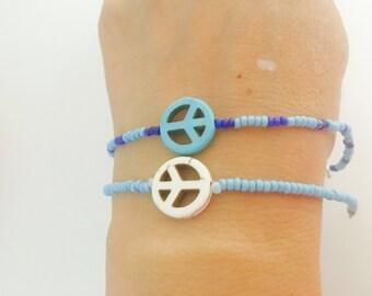 Peace Sign Bracelet, beaded, layering, turquoise, handmade, item no H015