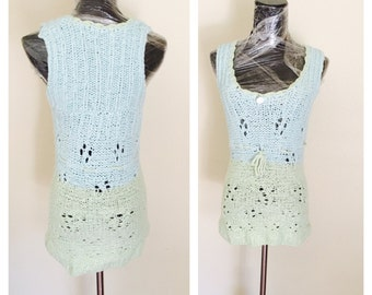 OMBRE Sleeveless Blouse, Woman Knitted Fashion, Alpaca, Hand Made in the USA, Item No. DeBg10
