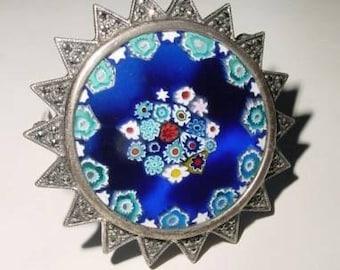 Vintage  925 Sterling Silver Cobalt Blue MILLEFIORI, Marcasite Venetian Art Glass Brooch, Lapel Pin, Dress Pin