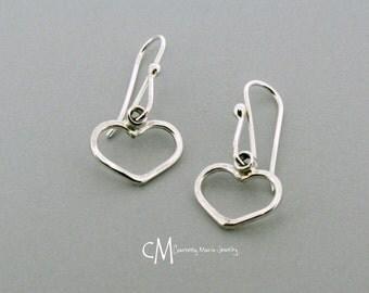 Small Heart Earrings - Silver Heart Earrings - Drop Heart Earrings - Small Silver Heart Drops - Everyday Earrings