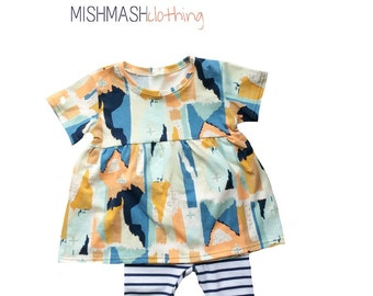 Baby girl outfit Baby girl dress Baby girl clothes Baby girl leggings Hipster baby clothes girls dress Dress and leggings set