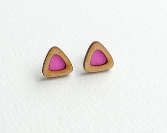 Pink wooden triangle stud earrings