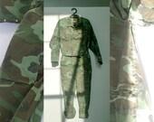 vintage 1970's camo utility jumpsuit . size large medium