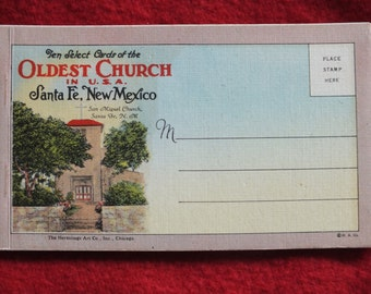 10 Select Cards of the Oldest Church in USA, San Miguel Church, Santa Fe New Mexico - 10 Unused Linen Postcards Souvenir Folio Booklet