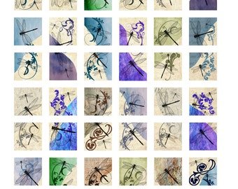 Dragonflies Instant Download 1 Inch Digital Image Collage Sheet (16-20)