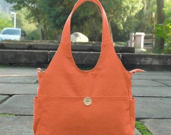 Summer Sale 10% off Orange canvas diaper bag, womens hand bag, canvas messenger bag, tote bag for women