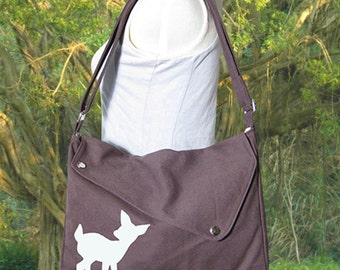 brown cotton canvas messenger bag / shoulder bag / deer messenger /diaper bag / fawn sewn
