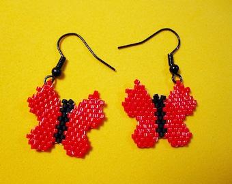 Red Butterfly Bead Earrings