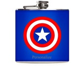 Captain America Shield Flask, Superhero Wedding, Personalized Gift for Men, Stainless Steel 6oz Hip Flask