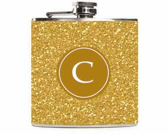 Gold Glitter Flask Monogram Personalized Initial Gold Sparkle Flask for Women Stainless Steel 6oz Hip Flask