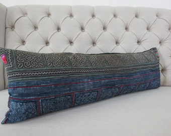 Vintage Hmong cotton,12x35,  Cushion cover, Handwoven Hemp Fabric,Scatter cushions