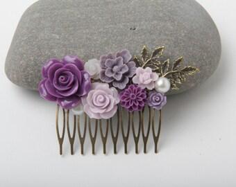 Bridal Hair Comb, purple lilac lavender Wedding hair comb, purple  lilac Bridesmaid gift, Maid of Honor Gift, Purple Hair Accessories